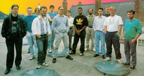 CAPCOM conversion for CPC, The Arc Team Left-Right = Byron Nilsson (Z80) , Paul Walker ( artist ) ,  Warren McCormack ( PC ) , Chris Coupe ( Amiga ) and Tim Round ( ST )